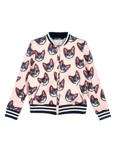 Shop Choies Design Cute Cat Print Bomber Jacket from choies.com .Free shipping Worldwide.$32.99
