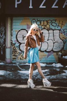 Rachel Lynch of IHateBlonde in Nasty Sunnies: http://www.nastygal.com/accessories-eyewear and sky-heigh white platforms: http://www.nastygal.com/shoes-platforms