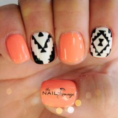 Aztec geometric tribal Gel nail art