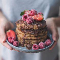 Hazel & Cacao   Vegan Oat Banana Pancakes with Chocolate Peanut Butter Sauce