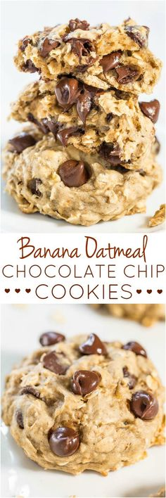 Banana Oatmeal Chocolate Chip Cookies - Like oatmeal cookies but with banana to keep them healthier! So soft, chewy, and you'll never miss the butter!!