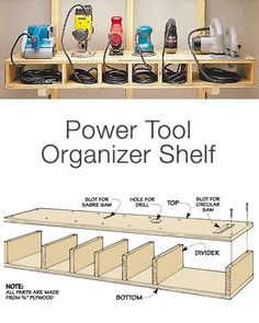 Garage Storage on a Budget - Power Tool Organizer Shelf Want more storage? Than try these DIY garage storage ideas! Get your garage organization done this weekend! Garage Shed, Garage Tools, Car Garage, Diy Garage Storage, Shed Storage, Budget Storage, Lumber Storage, Kitchen Storage, Wall Storage