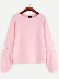 Pink Cut Out Sleeve Drop Shoulder Seam Sweatshirt