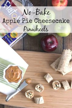 The perfect quick energy snack! This No-Bake Apple Pie Cheesecake Pinwheels recipe is full of nut-free butter, smooth cream cheese, and crisp apples … all rolled into cute, delicious pinwheels! AD ~ from www.TwoHealthyKitchens.com