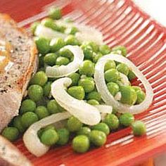 Green Peas with Onion Recipe- Recipes  Just a hint of garlic boosts the flavor in this quick and versatile side dish. Try it with all your favorite entrees! Lorraine Stromberg - Taylor, Texas