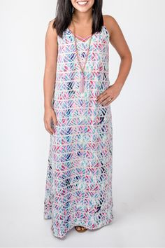 Sleeveless maxi with a fun geo print and filled with all of the colors of the season. This gem is sure to make you happy!  Kaleidoscope Geo Maxi Dress by Buddy Love. Clothing - Dresses - Maxi Atlanta Georgia