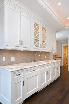 Our cabinets painted white. Cedar - traditional - Kitchen - Chicago - Elizabeth Taich Design