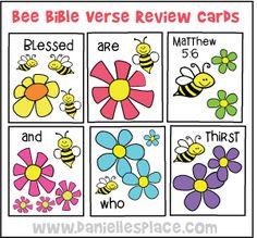 Bee Bible Verse Review Cards for Sunday School from www.daniellesplace.com