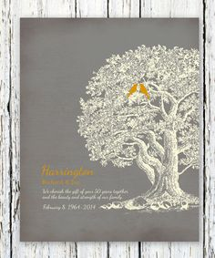 50th Wedding Anniversary Tree Gift For Parentsparents Inlaw Oak