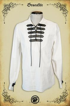 Medieval shirt made by our team at Dracolite. Imagined and created by our designer Véronique Lortie.    Details :  * 100% original and unique design  * Handmade by our professional seamstress team  * High quality fabric and materials  * Custom leather straps handcrafted by Dracolite  * Made in Canada    Sizes :  * See our chart in item pictures    Ideal for  * Medieval costume  * LARP medieval character  * Steampunk costume  * Medieval, victorian, renfair, LARP and other events  * Everyday…