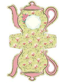 Molde Decorado Caixinha de Bule de Chá flores