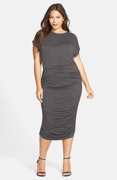 Vince Camuto Side Ruched Midi Dress (Plus Size) (Nordstrom Exclusive) available at #Nordstrom