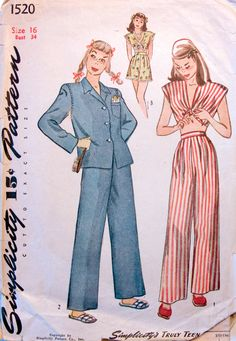 1950's PJ's 60 Fashion, 1940s Fashion, Simplicity Sewing Patterns, Vintage Sewing Patterns, Pajama Party, Pajama Set, Pattern Grading, Pajama Pattern, Boujee Outfits