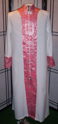 #500 cassock styled robe with zip brocade frontal, cuffs & collar, corded.