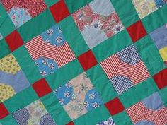 Vintage 30s Bow Tie Quilt Top Wonderful Green and Novelty Feedsack Prints