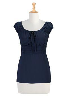 Navy Blue Crepe Tops, Nautical Retro Blouses Women's fashion clothes - Women's Long Sleeve Tops - Ladies Tops, Fashion Tops, Tunic Tops, Plus Size Tops - CL0030128 | eShakti