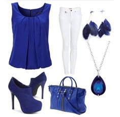 Dressy casual blue and white outfit