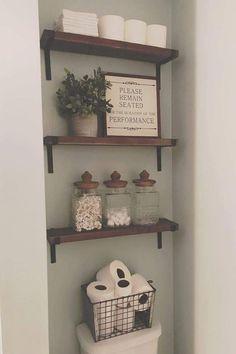 48 beautiful farmhouse bathroom decor ideas fit with any home design . , 48 Gorgeous Farmhouse Bathroom Decor Ideas Fit Any Home Design Small Bathroom Storage, Diy Bathroom Decor, Diy Home Decor, Bathroom Organization, Decorating Bathrooms, Bathroom Interior, Bathroom Designs, Budget Bathroom, Simple Bathroom