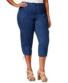 41eef750271 Plus Size Cargo Capri Pants Medium Indigo 24W at Amazon Women s Clothing  store