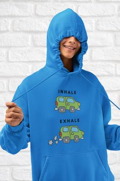 Add some fun to your wardrobe or give it as the perfect gift. Funny Yoga, Inhale Exhale, Cool Outfits, Graphic Sweatshirt, Sweatshirts, Gift, Sweaters, How To Wear, Clothes
