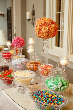 Wedding candy bar.. Just some little treats as favors :)