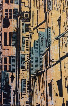 Items similar to Original signed art, colour woodcut print, Apartment Buildings, Nice, France. on Etsy Linocut Prints, Art Prints, Linoprint, Wood Engraving, Woodblock Print, Printmaking, Original Art, Illustration Art, Abstract
