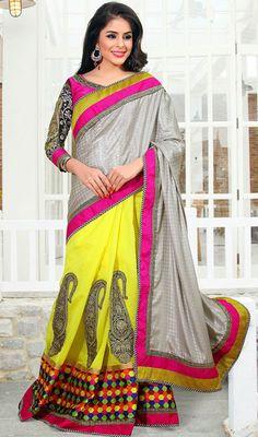 Ash Gray and Yellow Chanderi Silk Half N Half Saree Price: Usa Dollar $115, British UK Pound £68, Euro85, Canada CA$123 , Indian Rs6210.