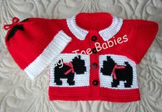 Baby Sweater Set 12 months  Crochet Tunisian Afghan Stitch PDF Pattern McScottie Dogs- Instant Download Available
