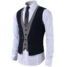 H2H Mens Fashion Business Suit Layered Vest With Chain Rings... ($36) ❤ liked on Polyvore featuring men's fashion, men's clothing, men, tops and guys