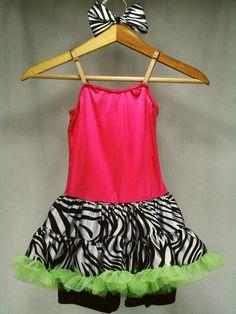 Girls Dance Costume IC 7 Weissman Last One Standing Pink Zebra Stripe NEW