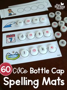 60 FREE CVCe Bottle Cap Spelling Mats - This Reading Mama