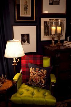 The Tufted Green Chair, Red Plaid Pillow and Dark Walls for the gentleman's touch!  www.MaxwellBillieon.com