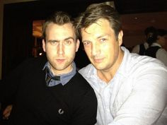 2 rugedly handsome men in one picture!!! It's to much for me!! Matt Lewis and Nathan Fillion. Neville and Castle
