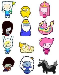 """Chibi adventure time characters - these could be cute as table centerpieces since it's for a 1st birthday and all the characters are """"toddler-ized"""""""