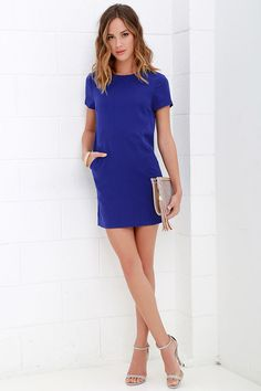 Have a Good One Royal Blue Shift Dress at Lulus.com!