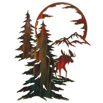 """Moon River Moose Wall Hanging - A Black Forest Decor Exclusive - A shimmering color wash finish highlights the stunning laser-cut cold-rolled steel moose scene Moon River Moose Wall Hanging. Measures x ½""""D x ~ Metal Tree Wall Art, Hanging Wall Art, Metal Art, Wood Art, Wall Hangings, Moose Tattoo, Stencils, Moose Decor, Black Forest Decor"""