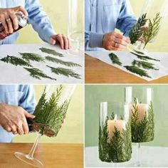 Evergreens glued to glass cylinder Christmas candle decoration