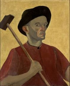 José Pancetti Selfportrait with sledgehammer