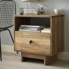 Night stand made with repurposed pallet wood.