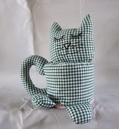 Cat Toilet Roll Cozy Cover Storer Green Gingham by AlfieJayne, €15.00