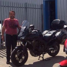 Rob with his latest ride called Gemima!! She is a lovely black 2014 Honda CBF1000GT