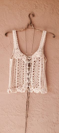Jens Pirate Booty Beach Boho camisole hand crochet with leather drawstrings -inspiration