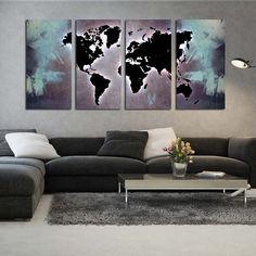 Τετράπτυχος πίνακας σε καμβά World map X-ray edition - Ninesix.gr