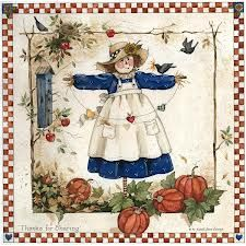 S. G. Evans - Scarecrow with pumpkins card