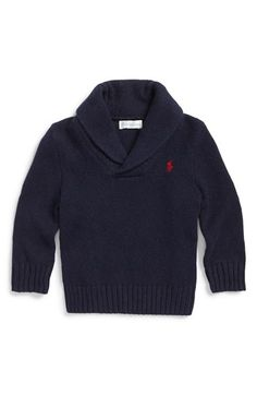 Ralph Lauren Shawl Neck Cotton & Cashmere Sweater (Baby Boys) available at #Nordstrom
