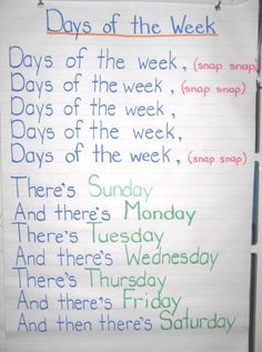 Days of the Week - adams family song. Loved doing this with my kids during student teaching.