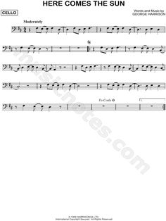 Print and download Here Comes the Sun sheet music by The Beatles arranged for Cello. Instrumental Solo in D Major. Trombone Sheet Music, Cello Music, Guitar Songs, Piano Sheet Music, Music Chords, Ukulele, Music Lessons, Guitar Lessons, Acoustic Guitar Strap