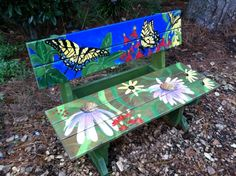 handpainted garden bench - Google Search