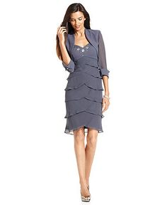 SL Fashion Petite Dress and Jacket, Sleeveless Beaded Tiered Sweetheart Neck Cocktail Dress - Womens Petite Dresses - Macy's