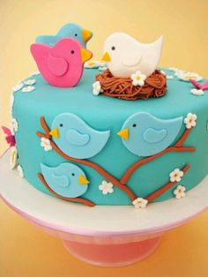 butter hearts sugar: Nesting Birds Baby Shower Cake and Cookies.love the birds! Baby Cakes, Baby Shower Cakes, Pink Cakes, Pretty Cakes, Cute Cakes, Fondant Cakes, Cupcake Cakes, Rodjendanske Torte, Decoration Patisserie